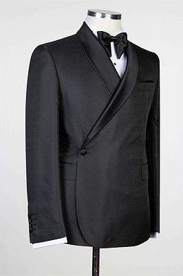 Douglas Simple Black Fashion Shawl Lapel Men Suits for Wedding_2