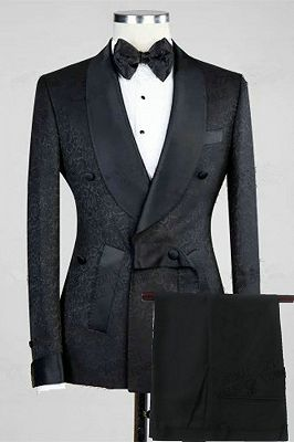 Ernesto Black Double Breasted Shawl Lapel Jacuqard Wedding Suit