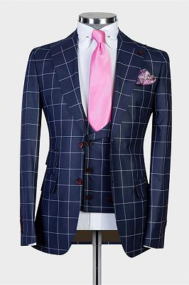 Justice Dark Navy Plaid Peaked Lapel Slim Fit Men Suits for Business_1