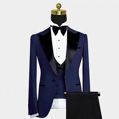 Maurice Dark Navy Cool Peaked Lapel Men Suit for Wedding_2
