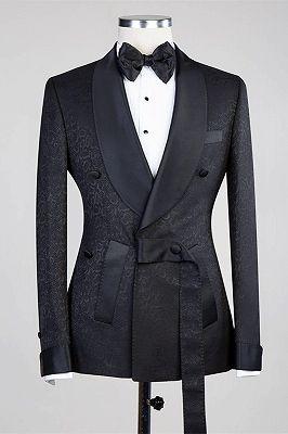 Ernesto Black Double Breasted Shawl Lapel Jacuqard Wedding Suit_3