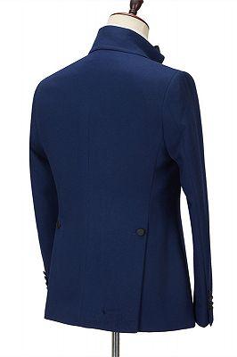 Davion Dark Navy Peak Lapel Two Pieces Stylish Men Suit for Prom_2