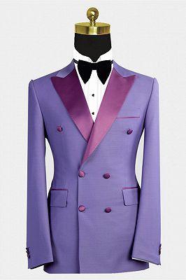 Nickolas Stylish Peaked Lapel Purple Bespoke Double Breasted Men Suits_1