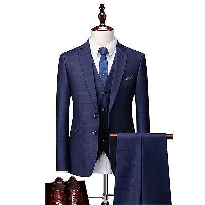 Javon Dark Navy Plaid Slim Fit Three Pieces Notch Lapel Men Suits_3