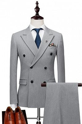 Nasir Silver Double Breasted Peaked Lapel Slim Fit Fashion Men Suits_1