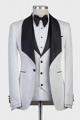 Paxton White Three-Pieces Jacaquard Wedding Groom Suits with Black Shawl Lapel_1