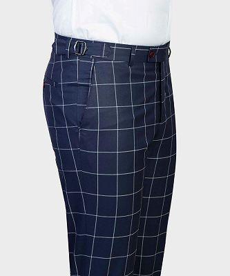 Justice Dark Navy Plaid Peaked Lapel Slim Fit Men Suits for Business_3