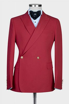 Izaiah Fashion Red Peaked Lapel Slim Fit Prom Suits for Men_1