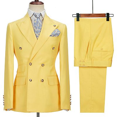 Brodie Yellow Double Breasted Peaked Lapel Slim Fit Bespoke Men Suits_3