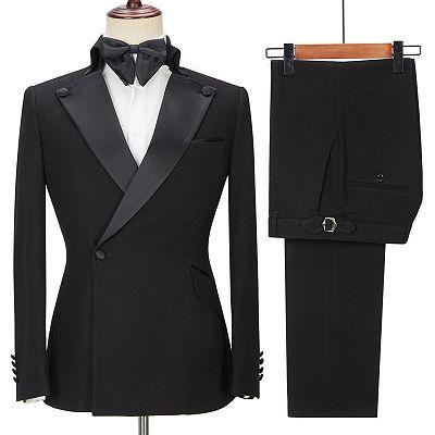 Shaun Black Fashion Slim Fit Peaked Lapel Men Suits for Prom_4
