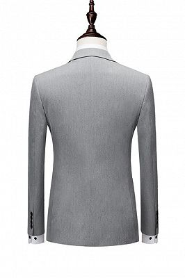 Nasir Silver Double Breasted Peaked Lapel Slim Fit Fashion Men Suits_2