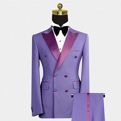 Nickolas Stylish Peaked Lapel Purple Bespoke Double Breasted Men Suits_2