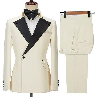 Alvin Off White Slim Fit One Button Stylish Men Suit_3