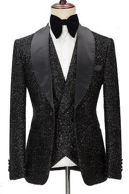 Kane Sparkly Black Three Pieces Shawl Lapel Bespoke Wedding Suit for Men_1