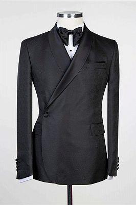 Douglas Simple Black Fashion Shawl Lapel Men Suits for Wedding_1