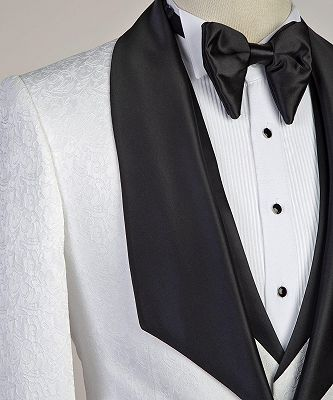 Paxton White Three-Pieces Jacaquard Wedding Groom Suits with Black Shawl Lapel_3