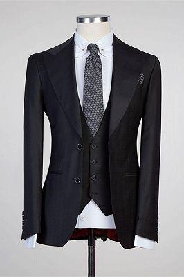 Tate Simple Black Peaked Lapel Fashion Slim Fit Formal Men Suits_1