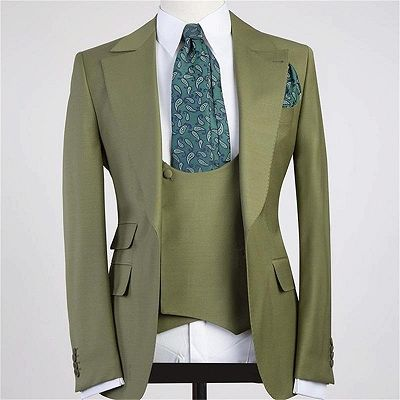 Camron Three Pieces Peaked Lapel Bespoke Men Suit for Prom_2