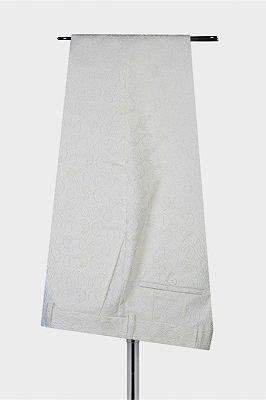 Mekhi White Jacquard Double Breasted Peaked Lapel Wedding Suit for Men_3