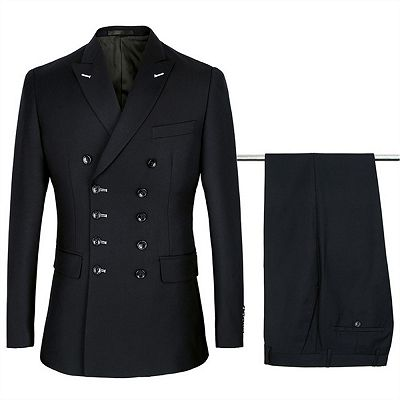 Morgan Handsome Black Slim Fit Double Breasted Business Men Suits_2