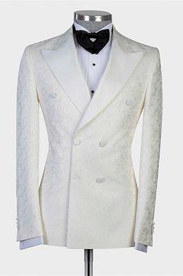 Mekhi White Jacquard Double Breasted Peaked Lapel Wedding Suit for Men_1