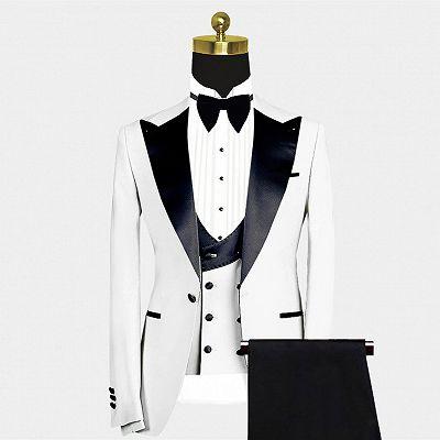 Russell Fashion White Slim Fit Peaked Lapel Wedding Groom Suit_2