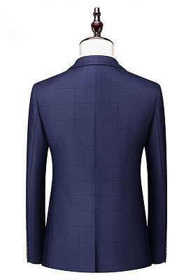 Javon Dark Navy Plaid Slim Fit Three Pieces Notch Lapel Men Suits_2