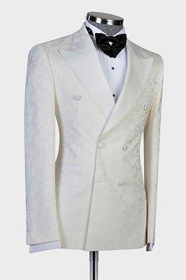 Mekhi White Jacquard Double Breasted Peaked Lapel Wedding Suit for Men_2
