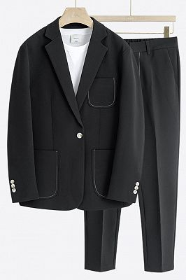 Jay Black One Button Loose Fashion Summer Men Suits_1