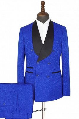 Ramon Royal blue Shawl Lapel Slim Fit Double Breasted Jacquard Wedding Suits