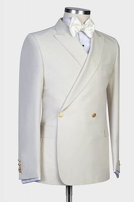 Lawrence New Arrival White Peaked Lapel Slim Fit Men Suits for Wedding_2