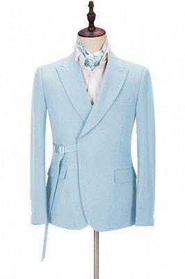 Justin Bespoke Sky Blue Peaked Lapel Men Suits with Adjustable Buckle_1