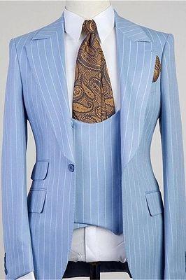 Isiah Fashion Blue Stripe Peaked Lapel Three Pieces Men Suits_1