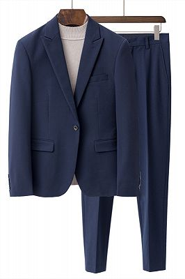 Lance Navy Blue Peaked Lapel One Buttom Men Suits for Summer_1
