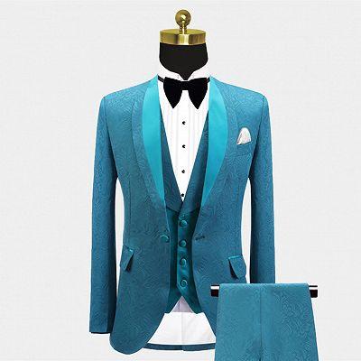 Leland Bespoke Shawl Lapel Jacquard Slim Fit Wedding Men Suits_4