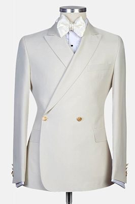Lawrence New Arrival White Peaked Lapel Slim Fit Men Suits for Wedding_1