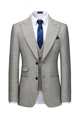 Titus Gray Plaid Fashion Peaked Lapel Slim Fit Men Suit for Prom_1