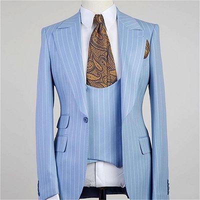 Isiah Fashion Blue Stripe Peaked Lapel Three Pieces Men Suits_2