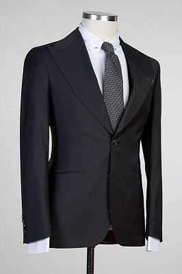Tate Simple Black Peaked Lapel Fashion Slim Fit Formal Men Suits_2