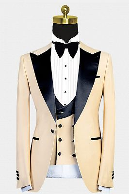 Kobe Handsome Peaked Lapel Slim Fit Men Suit for Prom_1