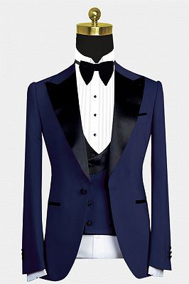 Maurice Dark Navy Cool Peaked Lapel Men Suit for Wedding_1