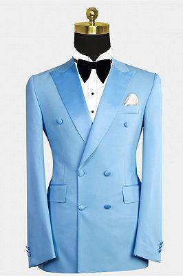 Phoenix Fashion Blue Peaked Lapel Double Breasted Men Suits_1