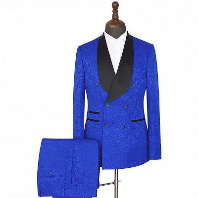Ramon Royal blue Shawl Lapel Slim Fit Double Breasted Jacquard Wedding Suits_2
