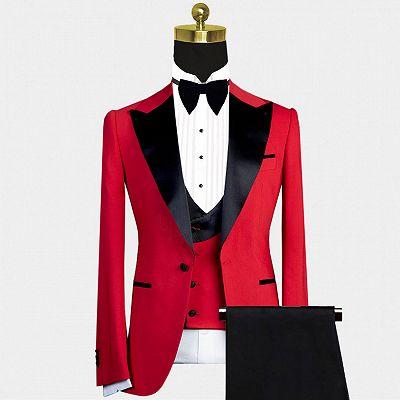 Davis Red Peaked Lapel Slim Fit Men Suit with Black Lapel_2