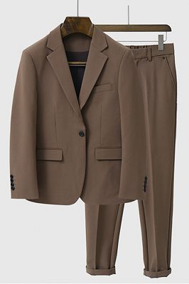 Yahir Brown Stylish Peaked Lapel One Button Men Suits for Summer_1