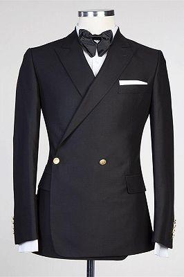 Solomon Stylish Black Peaked Lapel New Arrival Men Suits for Prom_1