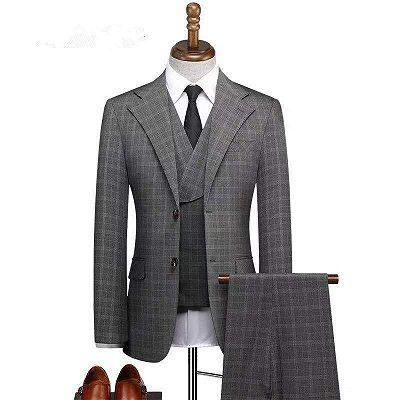 Zachariah Fashion Notched Lapel Plaid Three Pieces Formal Business Men Suits_2