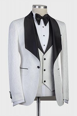 Paxton White Three-Pieces Jacaquard Wedding Groom Suits with Black Shawl Lapel_2