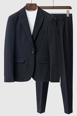 Beau Black Peaked Lapel Fashion One Button Summer Men Suits_1