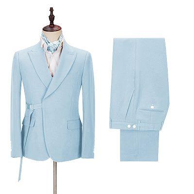 Justin Bespoke Sky Blue Peaked Lapel Men Suits with Adjustable Buckle_2